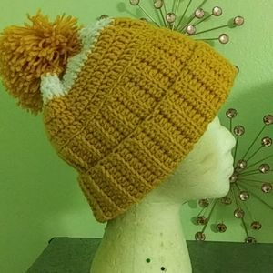 Crochet Gold and White Hat